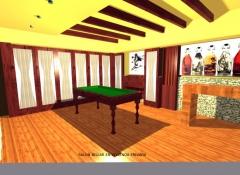 Infografia de salon de juegos y bar en vivienda unifamiliar , malaga