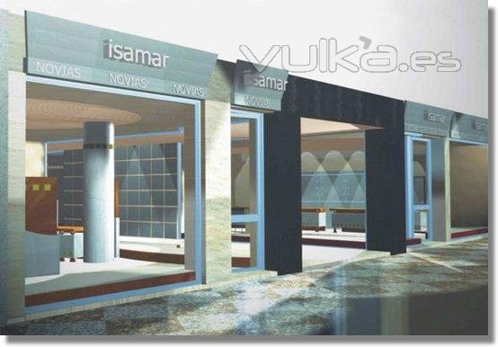 Foto infografia de fachada para local comercial en granada for Planos de locales comerciales modernos