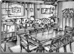 Perspectiva para decoracion de salon comedor en  merida