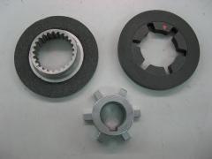Motores electricos: disco freno, ferodo y cubo dentado de la marca abb.