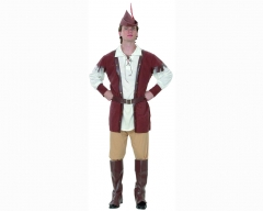 Disfraz de hombre del bosque o robin hood, incluye camisa, pantal�n, cintur�n, sombrero y cubrebotas