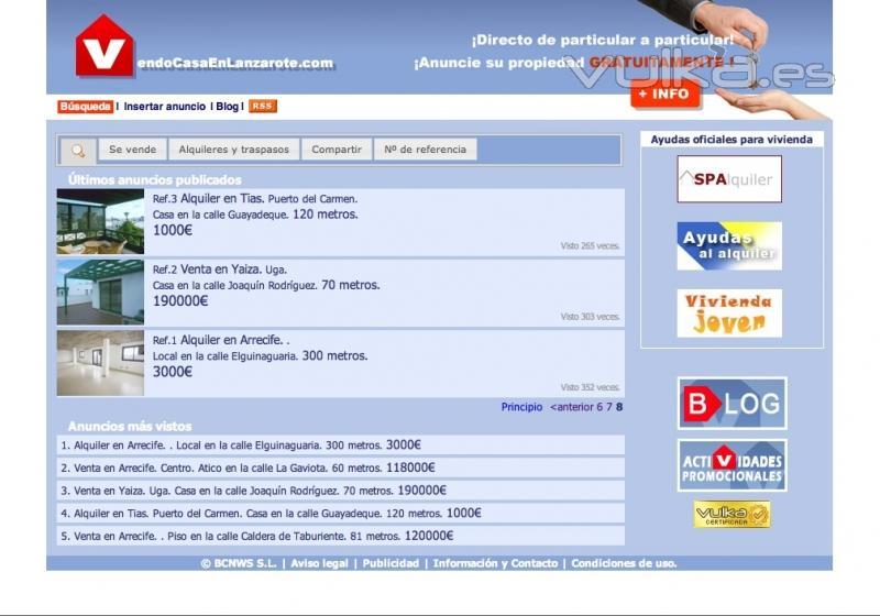 VendoCasaenLanzarote.com // Oferta inmobiliaria en la isla de Lanzarote // Inserción gratuita de anuncios para ...