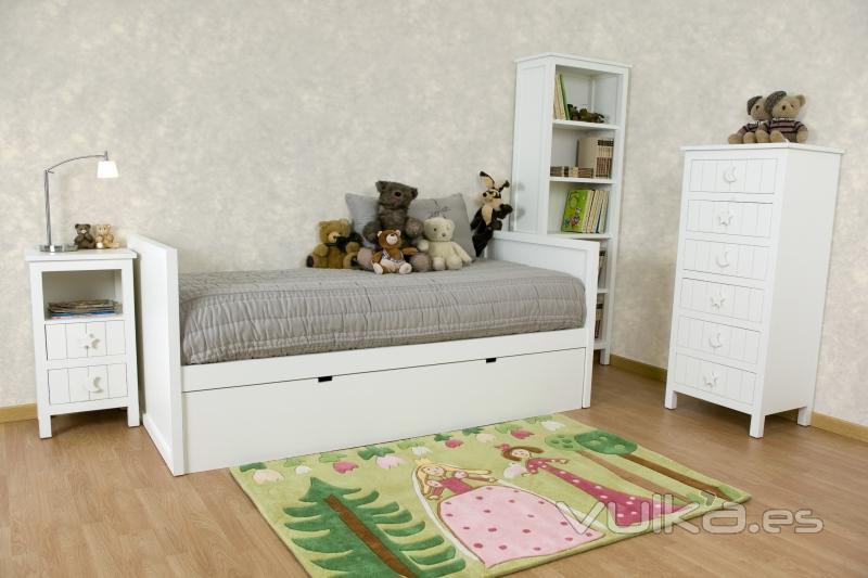 Foto dormitorio juvenil cama nido chiffonier librero - Camas blancas juveniles ...