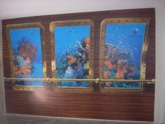 Mural efecto acuario, colocacdo en bodega