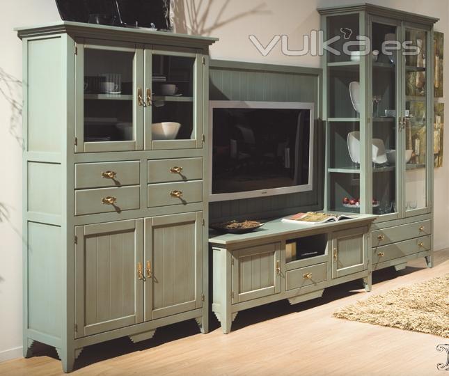 Foto vitrinas y mueble tv verde envejecido decapado - Mueble provenzal blanco ...