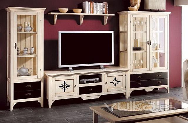 Foto vitrinas y mueble de tv blanco envejecido - Mueble provenzal blanco ...