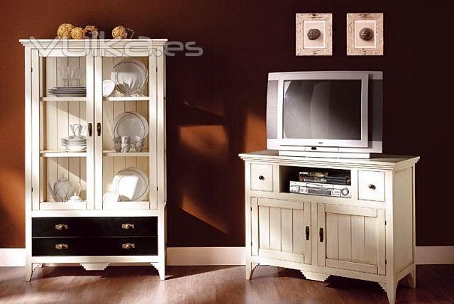Foto vitrina y mueble de tv blanco envejecido - Muebles blanco envejecido ...