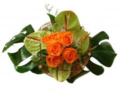 Bouquet rosas y anturium
