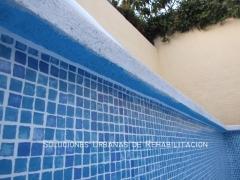 Impermeabilización de vaso de piscina, instalando pvc imitación