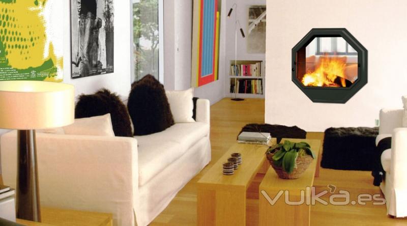 Foto chimenea arkiane modelo octuor mural doble cara - Chimeneas doble cara ...