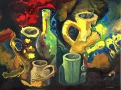 Jarrones y botella (mundo on�rico) acr.�leo sobre pap.car. 61x46 cm. a�o 2000