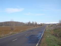 Carretera con galleguillos y las montañas al fondo
