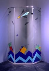 Cabina de ducha de cristal, motivo: oc�ano, pintado a mano.
