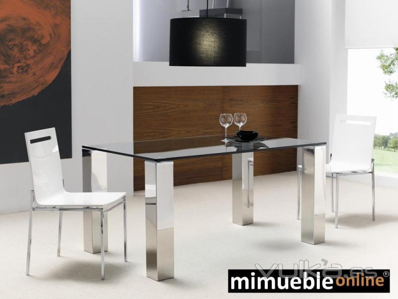 Foto mesa de comedor de acero y cristal vision inox for Mesas comedor cristal y acero