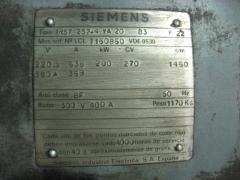 Placa de caracteristicas de motor siemens de anillos rozantes de 270 cv.