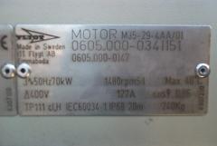 Placa de caracteristicas de un motor flygt.