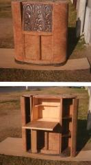 Radio antigua convertida en un mueble bar, enchapado ra�z de olmo exterior e interior en maple