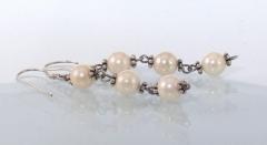Pendientes de perlas naturales de cultivo y plata  de ley