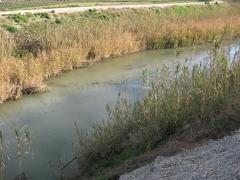 Riegos agricolas. lomera hormigon proteccion tuberia captacion agua rio.