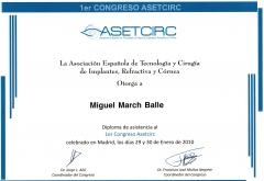 Diploma congreso asetcirc 2.010 (asociación española de tecnología y cirugía de implantes, refractiva y córnea).