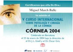 Curso internacional sobre patolog�a y cirug�a de la c�rnea. barcelona. 2.004.