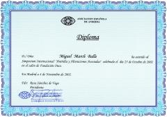 Diploma de asistencia al simposium internacional sobre