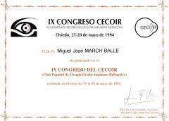 Diploma congreso cecoir 1.994