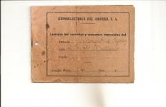 Antiguo librito toma de lecturas de hidroelectrica del chorro, s.a.