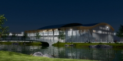 Proyecto de pabellon polideportivo en colmenar viejo - madrid. arquitectos: gq-4. vista nocturna