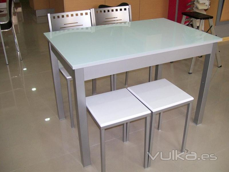 Mesa De Cocina Blanca. Mesa Extensible De Cristal Combinado Gris ...