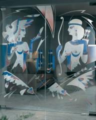 Puertas de cristal esmerilado: motivo las amazonas en puerta doble.