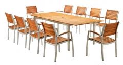 Conjunto de mesa y sillas aluminio y teca