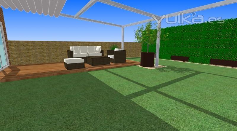 Foto dise o de exteriores jardines y terrazas con cesped - Diseno de terrazas y jardines ...