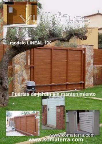 Foto puertas de jard n corredera motorizada de pvc madera - Puerta de madera para jardin ...