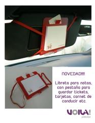 Novedad!!! carpeta, libreta y bol�grafo con gomas para el parasol del coche
