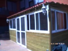 pergola de madera,aqu� se puso teja y carpinteria de aluminio.