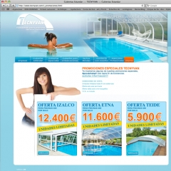 Web diseñada para tecnyvan cubiertas para piscinas y techos móviles