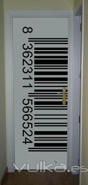 Foto im n para puertas met licas o no met licas dise o de c digo de barras en blanco y negro - Disenos de puertas metalicas ...