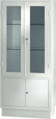 Vitrina armario para antequirofano. fabricada en acero esmaltado epoxi. parte superior dos puertas con lunas y dos ...