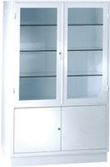 Vitrina armario para antequirofano. fabricada en acero esmaltado epoxi. parte superior dos puertas con lunas y tres ...