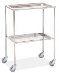 Mesa auxiliar. fabricada en acero inoxidable. bandejas superior e inferior extraibles. cuatro ruedas. medidas: 60 ...