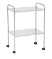 Mesa auxiliar. fabricada en acero esmaltado epoxi � acero inoxidable. dos enrepa�os lisos. cuatro ruedas. medidas: ...