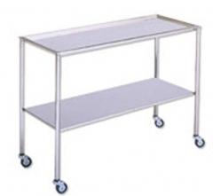 Mesa para instrumental. fabricada en acero inoxidable. bandeja superior desmontable y tablero inferior fijo. cuatro ...