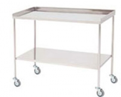 Mesa para instrumental. fabricada en acero inoxidable. tablero superior con reborde a tres lados. entrepa�o ...