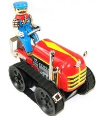 Buldozer de hojalata con mecanismo de cuerda www.juguetedehojalata.com