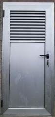 Puerta abatible 1 hoja con respiradero superior de lamas fijas