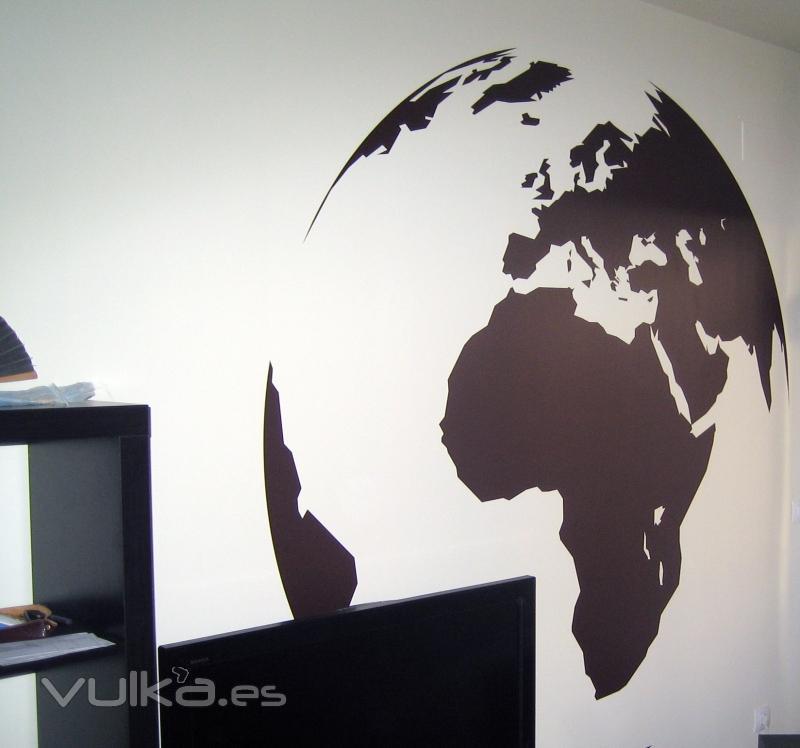vinilos decorativos decoracion con la bola del mundo