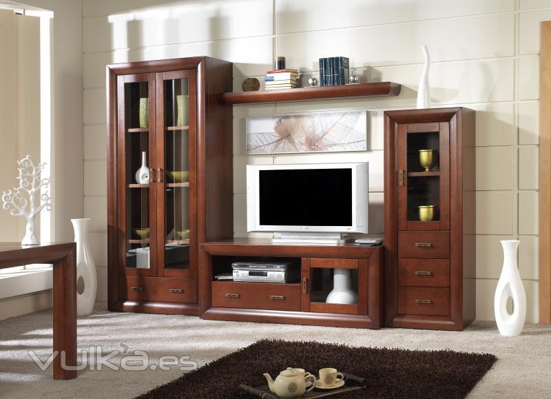 Foto salon modular en madera de pino macizo en crudo o for Muebles modulares rusticos para salon