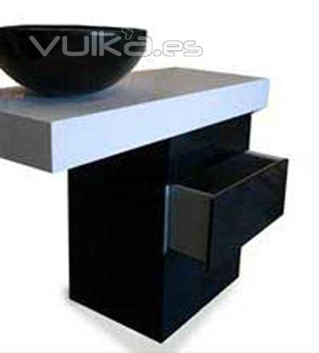 Foto mueble de ba o de silestone blanco zeus 09 y negro - Pica silestone ...