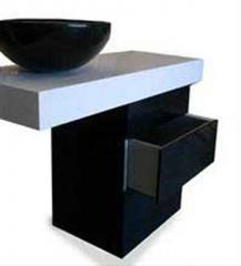 Mueble de ba�o de silestone blanco zeus 09 y negro tao. pica de granito negro zimbabwe